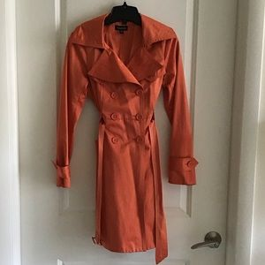 Bebe Orange Double Breasted Satin Trench